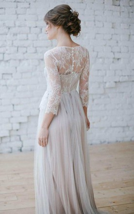 Illusion Lace Long Sleeve Scoop-Neck Tulle Sheath Wedding Dress