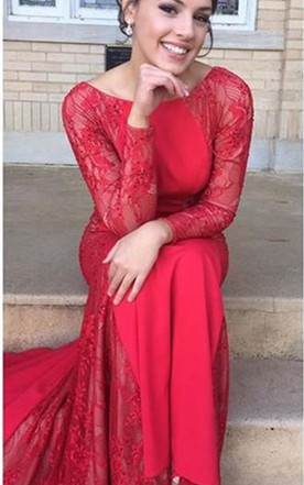Sexy Mermaid Lace Jewel Red 2016 Evening Dress Long Sleeve Sweep Train