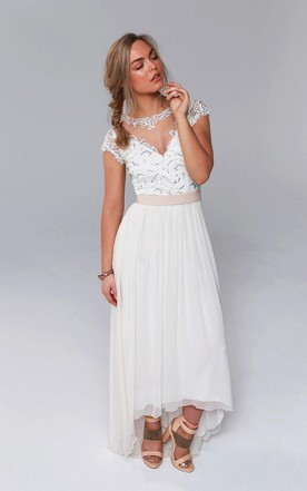 Illusion Jewel Neck Cap Sleeve High Low Chiffon Wedding Dress With Lace Sequined Bodice