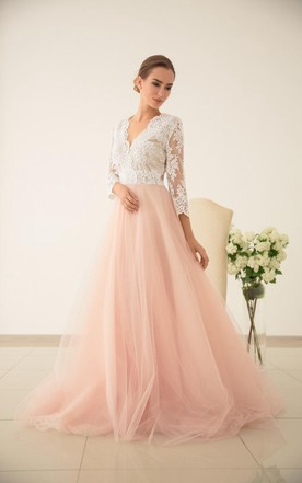 Wedding dress with color colored bridal gowns june bridals tulle wedding pink wedding lace and tulle wedding dres wedding with sleeved dress junglespirit Gallery