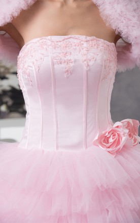Strapless Ruffled Ball Gown with Appliques and Bolero