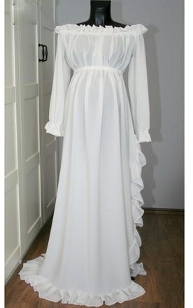 20c2915704b Elegant Long Sleeve Off-the-shoulder Chiffon Maternity Dress ...