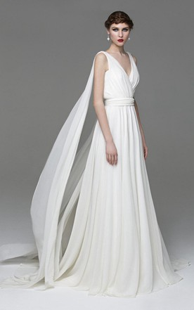 Grecian wedding gowns greek inspired style bridals dresses june v neck sleeveless a line chiffon wedding dress with watteau train junglespirit Image collections