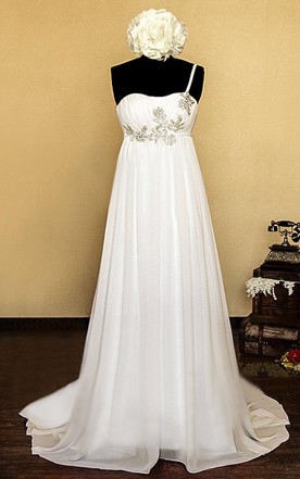 One-Shoulder Empire Lace-Up Back Chiffon Wedding Dress With Beading And Flower
