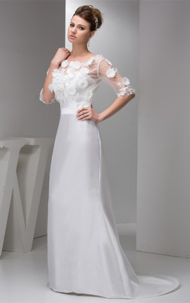 fa664cd0050b3 ... Floral Half-Sleeve Satin Mermaid Dress with Illusion Top