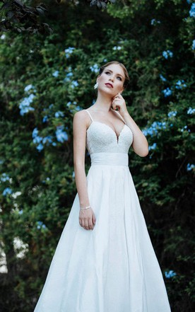 Low Neck Spaghetti Strap Long A Line Taffeta Wedding Dress With Lace