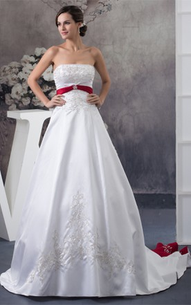 A Line Satin Ball Gown With Embroideries And Broach