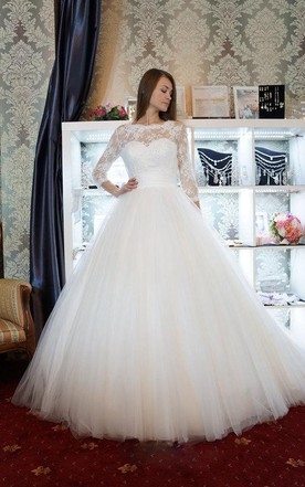 Ball Gown Long Sleeve Tulle Lace Satin Weddig Dress