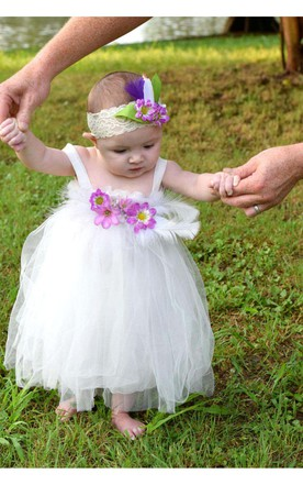 White Feathers and Flowers Tulle Baby Girl Dress With Pleated ...  sc 1 st  June Bridal & Cute Baby Girl Wedding Dresses Toddler Wedding Dresses - June Bridals