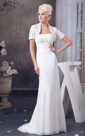 ba838f3288 Strapless Chiffon Sheath Dress with Lace and Bolero ...
