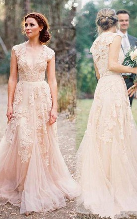 Coral wedding dresses orange wedding dresses june bridals high quality v neck sleeveless floor length wedding dress with lace junglespirit Images