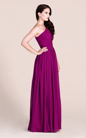 One-shoulder Empire Long Chiffon Bridesmaid Dress