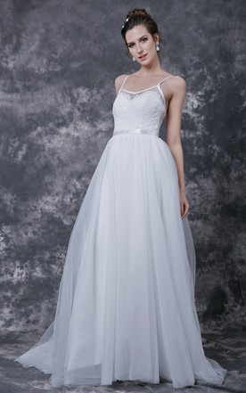 fa36f8621b3 Spaghetti Strap Low V Neck Long Tulle Dress With Sash and Lace Detailing ...