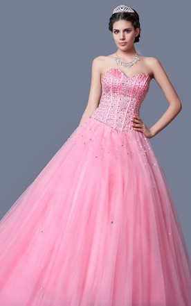 Elegant Formal Pageant Dress Fitted Sparkling Bodice Full Tulle Skirt