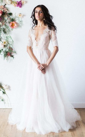Plunged Lace Half Sleeve A-Line Tulle Wedding Dress With Deep-V Back
