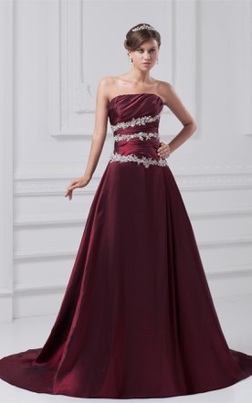 Strapless A-Line Appliqued Gown with Ruched Bodice