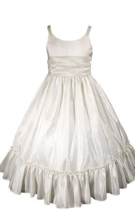 Sleeveless A-line Ruched Dress With Straps and Bow