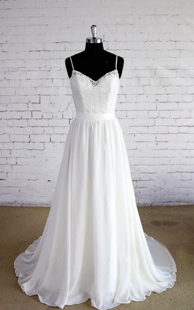 Spaghetti Strap A-Line Chiffon Wedding Dress With Lace Bodice