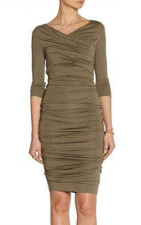 Wrap 3 4 Sleeve Tube Dress With Shirring Detail