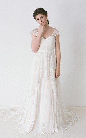 Lace Cap Sleeve Wedding Dress on Sale - June Bridals