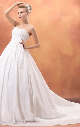 Dramatic Strapless A-Line Taffeta Princess Ball Gown With Laces