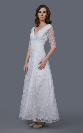 ... Stunning V Neckline Tea Length Gown With Illusion Sleeve And Embroidery