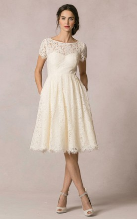 Lace Knee Length Wedding Dresses, Knee-Length Lace Bridal Gowns ...