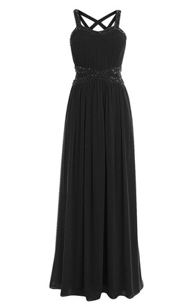 Sleeveless Chiffon Gown With Straps Back