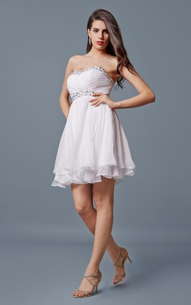 b8ceaaf7632 Beaded Sweetheart Neck Empire Short Chiffon Dress With Tier ...