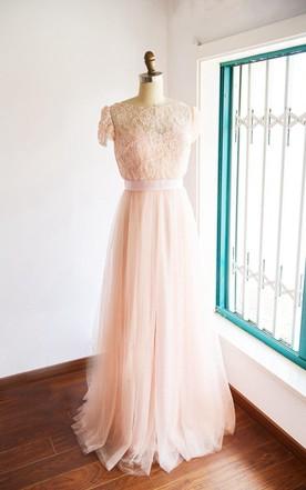 Light pink wedding dress pale pink wedding dress june bridals cap sleeve tulle lace satin weddig dress with jacket junglespirit Images