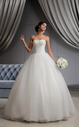 A Line Sweetheart Sleeveless Princess Ball Gown With Bow And Corset Back ...