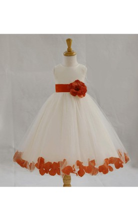 Ivory Flower Hemline Pleated Tulle Gown With Tie Sash and Petals
