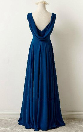 Floor-length V-neck Chiffon Dress With Ruching and Pleating