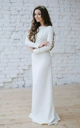 Long sleeved wedding gowns bridals dress with sleeves june bridals bateau long sleeve sheath dress with appliqued waist junglespirit