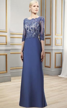 1afabaec19 Maxi 3-4 Sleeve Appliqued Bateau Neck Satin Formal Dress With Deep-V Back  ...