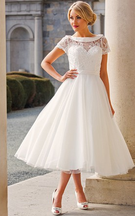 Tea Length A Line Cap Sleeve Beaded Bateau Neck Tulle Wedding Dress ...