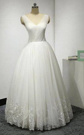 V-Neck Sleeveless Tulle Ball Gown With Ruching and Lace