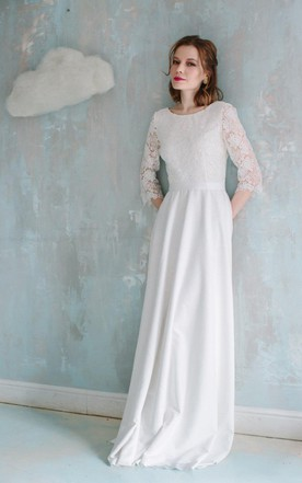 Cheap 3 4 Sleeve Lace Wedding Dress in Style - June Bridals