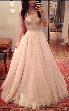 A Line Sweetheart Pleats Long Tulle Lace Dress