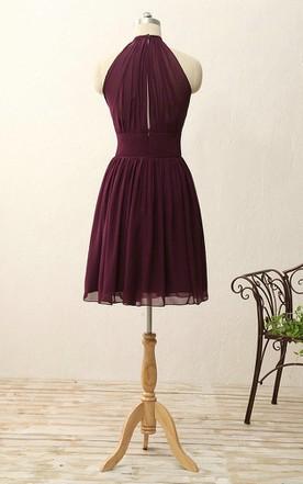 fc6fc08b583b ... A-line Short Halter Zipper Chiffon Dress