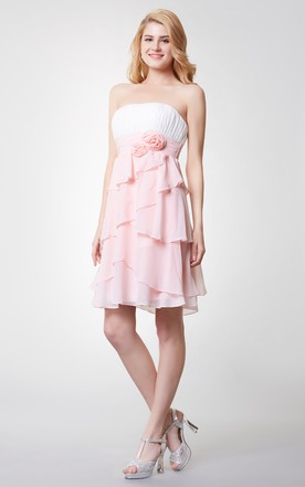 Strapless Empire Short Bridesmaid Dress with Layered Skirt