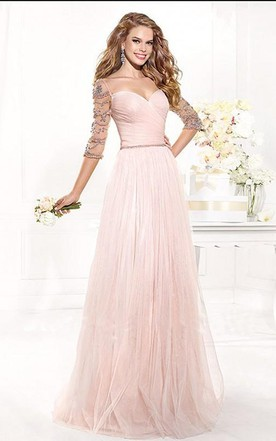 A-Line Princess Sweetheart Floor-Length 1 2 Sleeves Tulle Beading Dresses