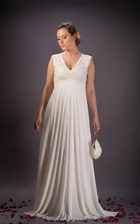 Vintage Lace Wedding Ivory Chiffon Bridal Dress