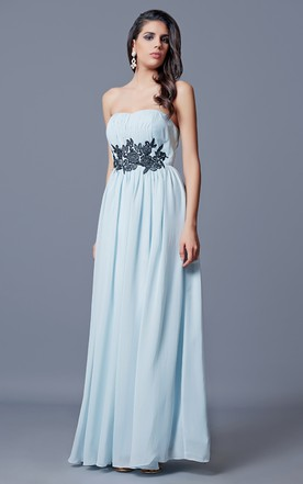 Strapless Appliqued and Ruched A-line Long Chiffon Dress