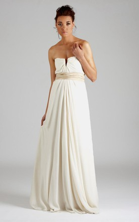 Strapless Long A-Line Chiffon Wedding Dress With Pleats