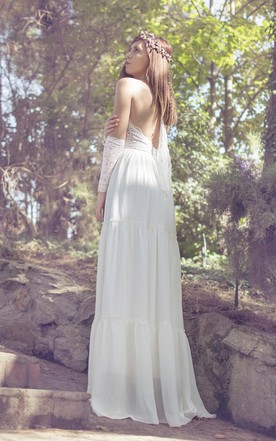 Halter Backless Long Jersey Wedding Dress With Beadings And Lace