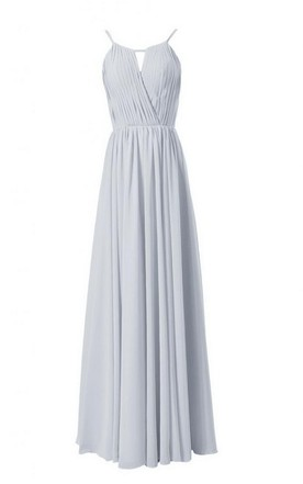 High Neck Long Chiffon Dress With Keyhole