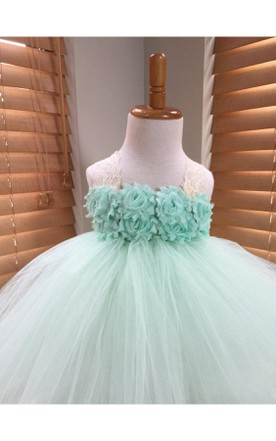 Handmade Chiffon Flower Bust Pleated Tulle Dress With Lace Straps
