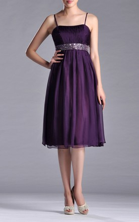 Spaghetti A-line Chiffon Knee-length Dress With Beaded Belt