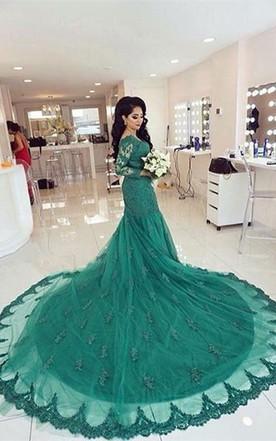 7d5023da4 Elegant Lace Appliques Mermaid Evening Dress 2018 Court Train Long Sleeve